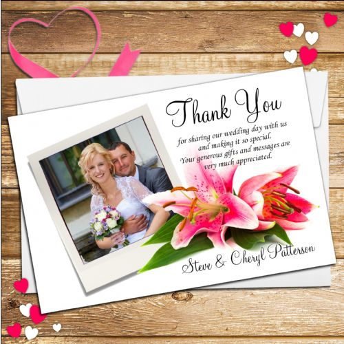 10 Personalised Lily Flower Wedding Thank you Photo cards N85